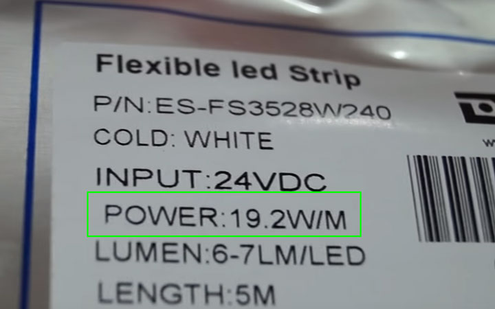 данные на упаковке о мощности светодиодной ленты на 1 метр