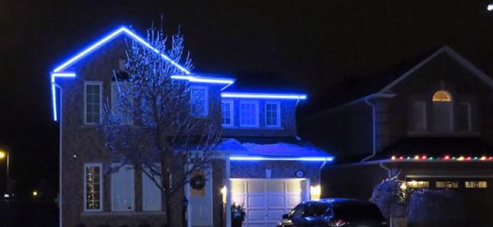 подсветка жилого дома светодиодной лентой 220В