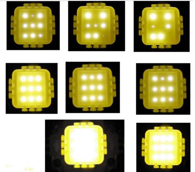 пример неравномерного свечения светодиодов