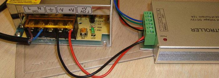 подключение усилителя для rgb разноцветной ленты от блока питания 12В и 24В