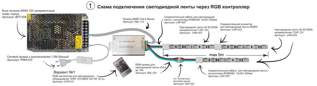 схема подключения 5м и 10м RGB ленты напрямую через контроллер без усилителя