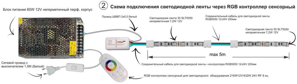 подключение rgb цветной ленты от одного контроллера на пульту дистанционного управления