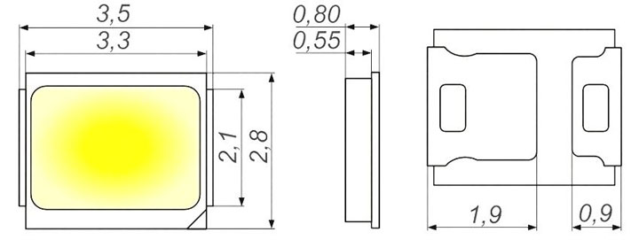 размеры ширина и длина светодиодов SMD 2835