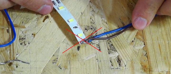 неправильное наложение проводов при пайке на светодиодной ленте