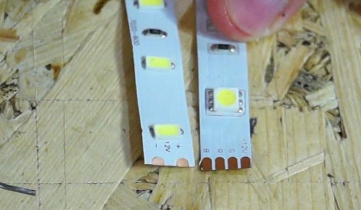 разница между контактами на простой светодиодной ленте и rgb