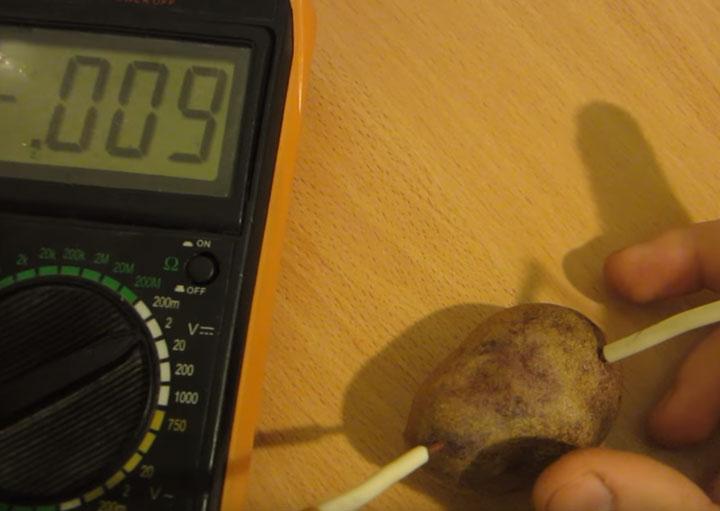напряжение милливольты в картошке