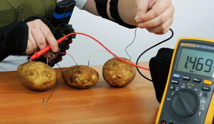 замер уровня напряжения от картошек 3шт