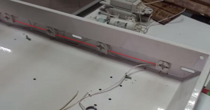 переделка 4-х лампового светильника армстронг под светодиодные лампы