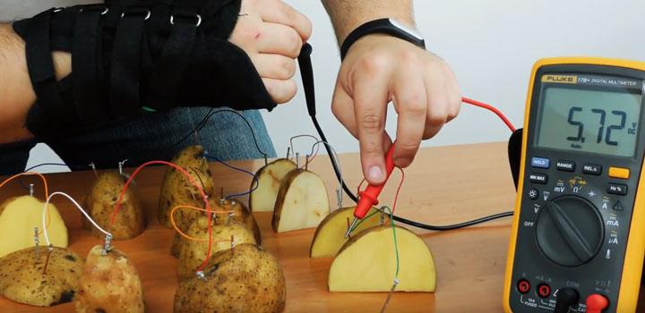 подключение большого количества картошек и замер напряжения от них