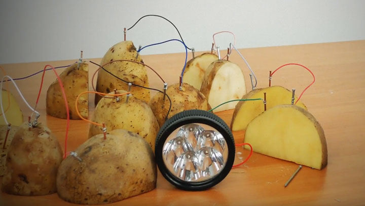 подключение фонарика от картошки