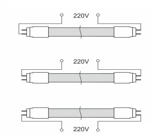куда подать 220в на светодиодные лампы при замене люминесцентных