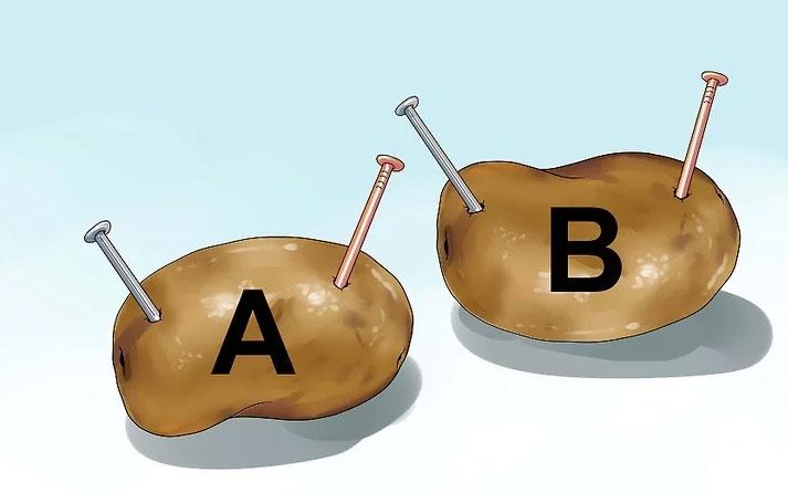подключение гвоздей контактов к картошке
