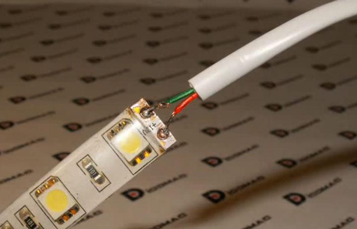 пайка проводов к силиконовой светодиодной ленте
