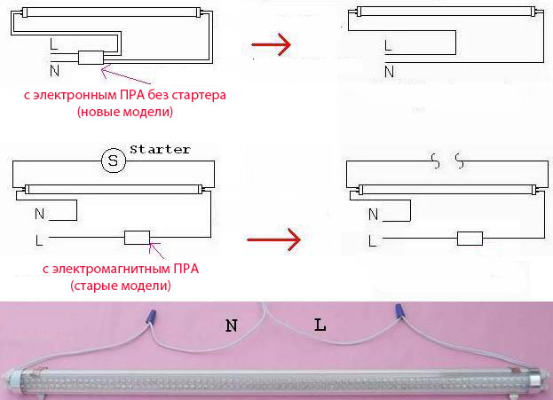 схем подключения лампы дневного света на светодиодную с дросселем и без стартера