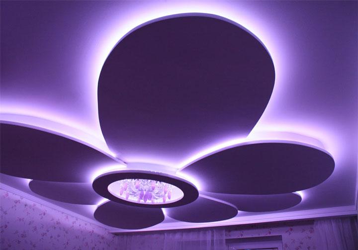 фигурная сложная светодиодная подсветка потолка