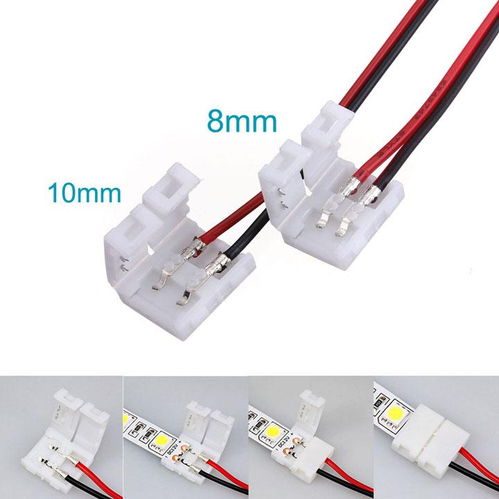 соединение проводов и светодиодной ленты при помощи коннекторов