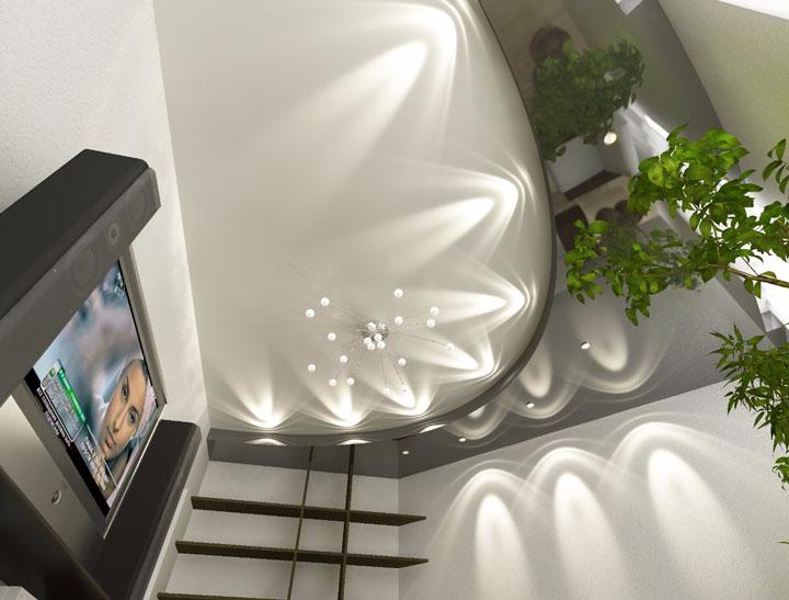 точечные светильники на потолке в зале