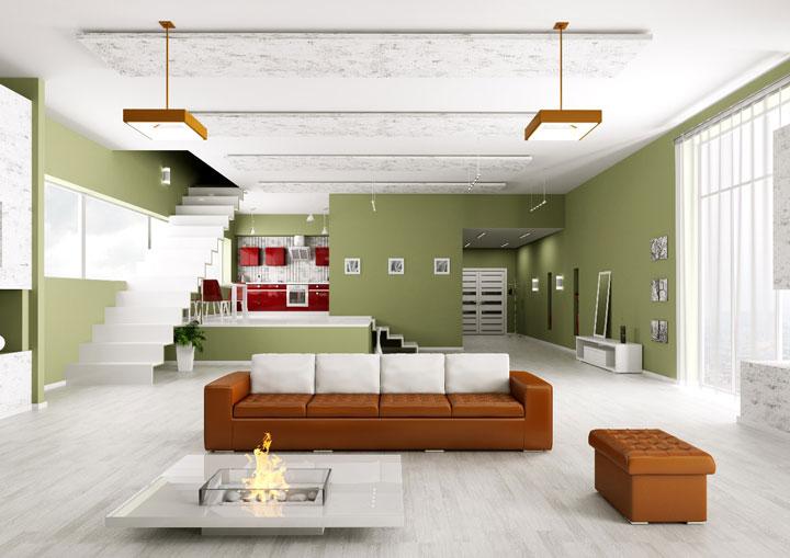 светильники на потолке зала