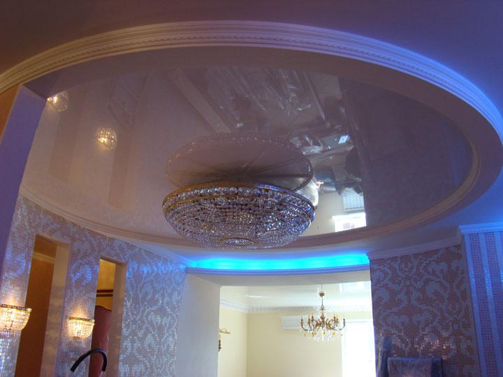освещение в зале с люстрой по центру