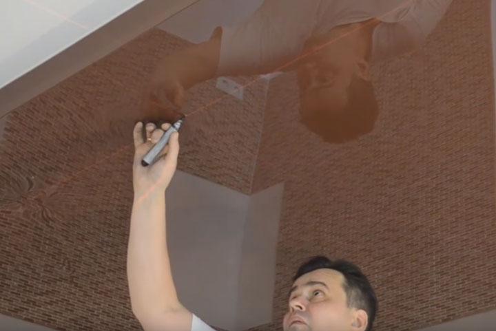 перенос точек крепления светильников на натяжной потолок