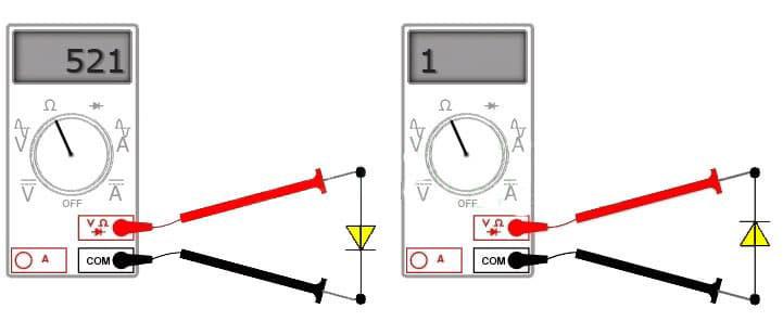 замер светодиода мультиметром