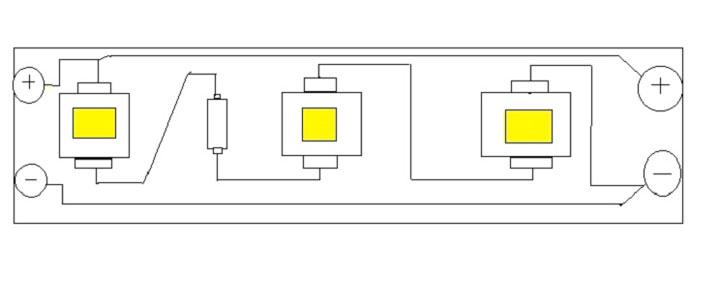последовательная схема подключения светодиодов в модуле ленты