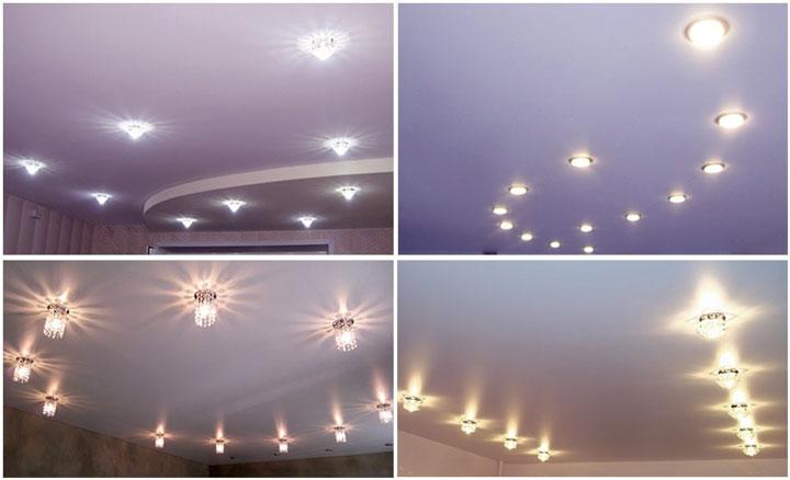размещение светильников на потолке