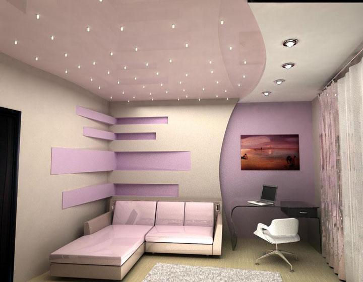 много точечных светильников на потолке