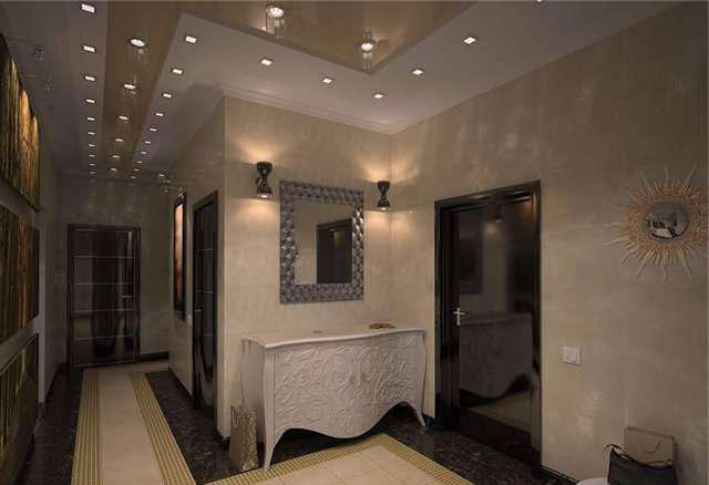расположение точечных светоточек в коридоре квартиры
