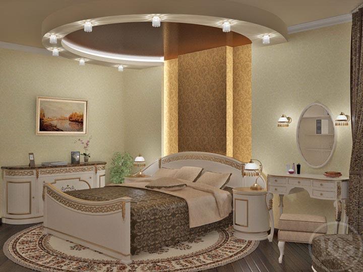 точечные светильники по периметру потолка в спальне