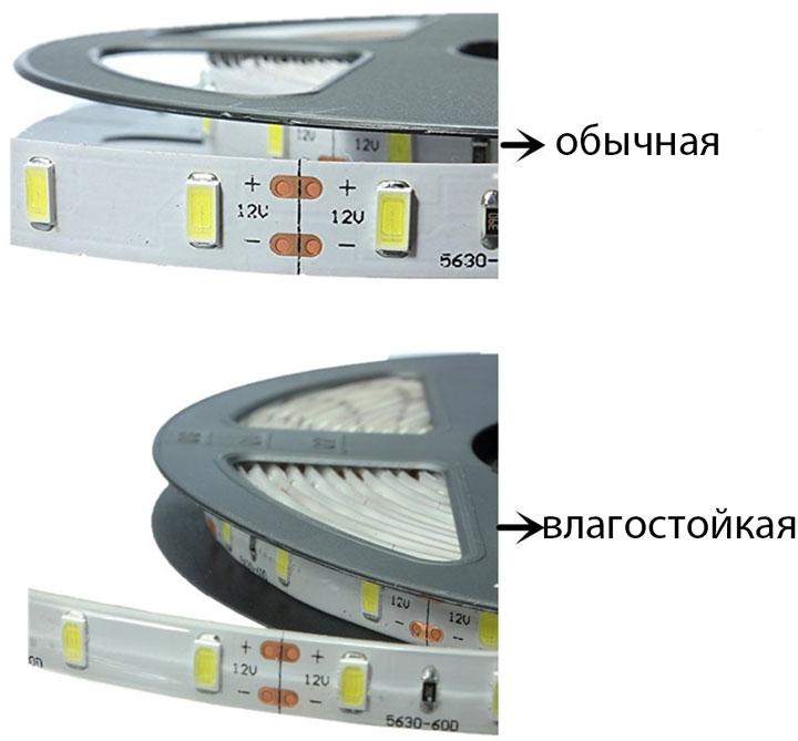 обычная и влагозащищенная светодиодная лента SMD 5730
