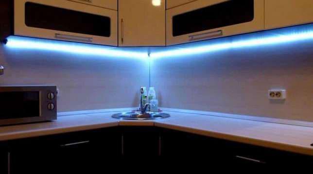 светодиодная подсветка столешницы на кухне