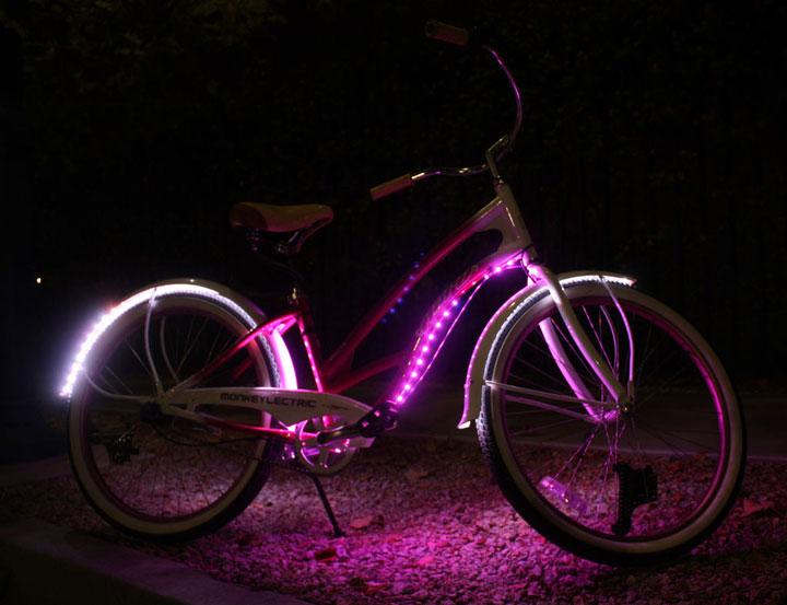 подсветка led лентой на велосипеде от батареек