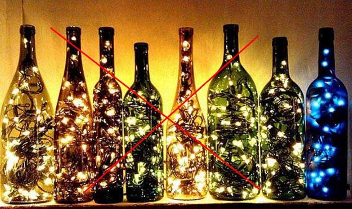 гирлянды в бутылки засовывать нельзя