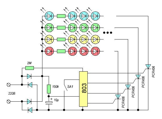схема светодиодной елочной гирлянды