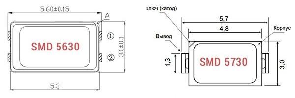 размеры светодиодов SMD 5730 и SMD 5630