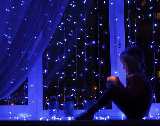 гирлянда световая занавеса для окна