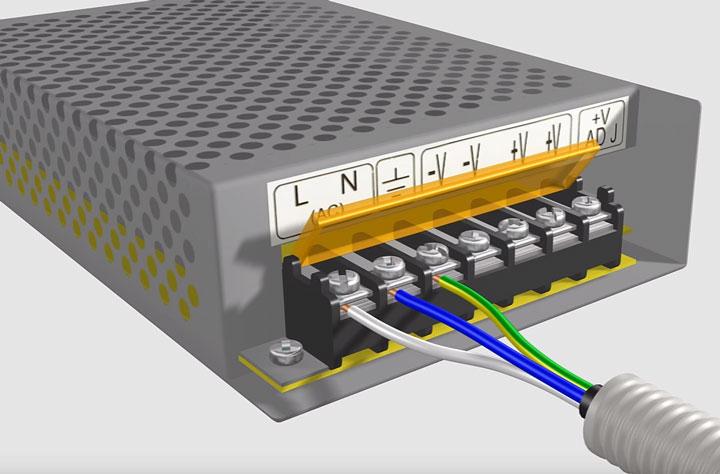 контакты блока питания светодиодной ленты