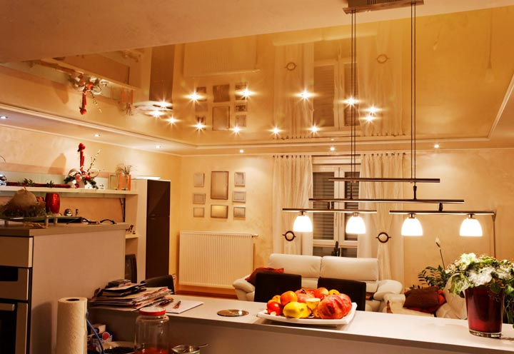 кухня подсветка обеденного стола