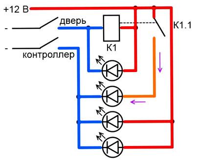 схема подключения светодиодной ленты для подсветки двери машины