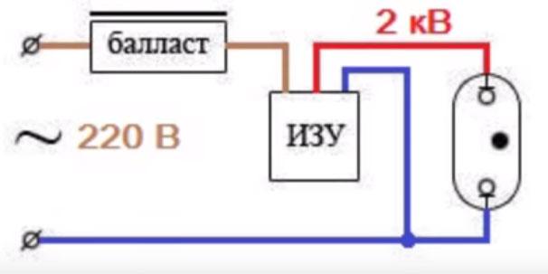 схема подключения ламп ДНаТ с трехконтактным изу