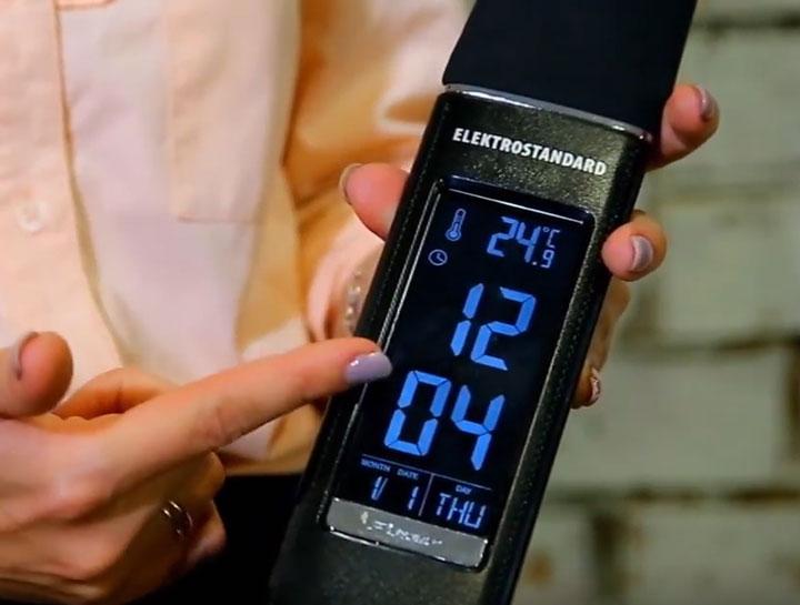 настольная светодиодная лампа со встроенным будильником, часами, термометром