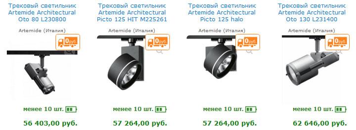 цена фирменных трековых дорогих светильников