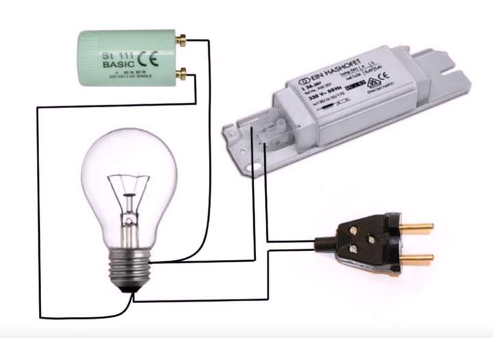 схема проверки дросселя без мультиметра с помощью простой лампочки