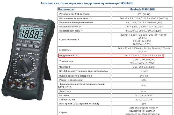 мультиметр с функцией проверки индуктивности