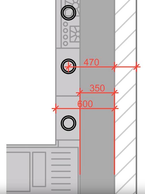 расстояние светильников от стены на кухне
