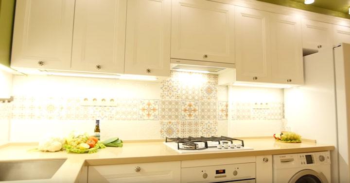 второй уровень освещения на кухне светодиодной лентой