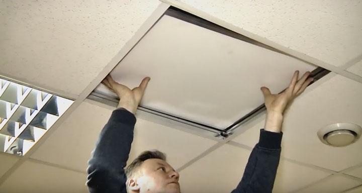 установка светодиолдной лед панели в потолок армстронг