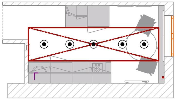 схема расположения точечных светильников на потолке в кухне