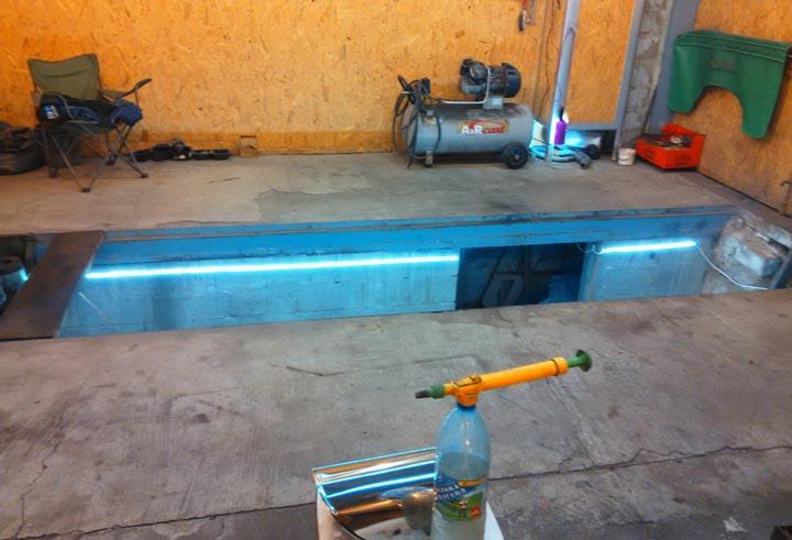освещение смотровой ямы автономным освещением лед ленты